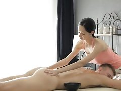 Sexy masseuse Emma Ejaculates gets coochie slammed by her kinky client