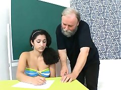 Darling is delighting elderly teacher with suck off absorbing