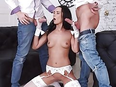 Tantalizing Brunette Angie Moon Has All Three Fuckholes Used by 2 Crazy Guys