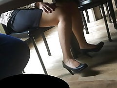 Candid feet and high-heeled shoes at work #21