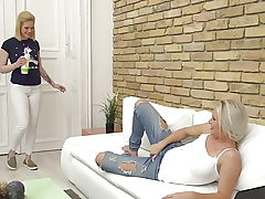 Red-hot moms fuck super-cute nubile daughters