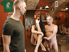 DADDY4K. Old dad lures fabulous black-haired while sonny left..