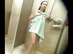 Nice chubby busty girl in the shower spycam
