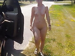Running around the truck nude