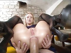 Provocative blonde gets booty-fucked by plumber