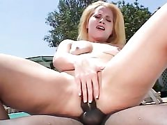 Amazing light-haired bi-atch gets her caboose torn up by bbc