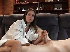 Young adorable girl plays with his nice man meat