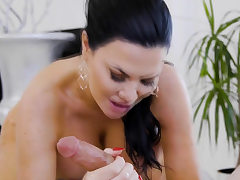 Guy gets massage and more from his super hot big-titted preceding teacher