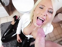 Blond stunner gets her assfucking fuck-hole slammed and then gets on her knees to munch cum