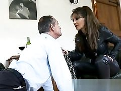 Horny duo is drinking some wine and he starts throating on her cunt