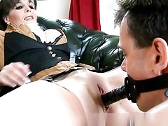 Horny fellow is fucking her honeypot with a strap on and glazes her mammories with jism