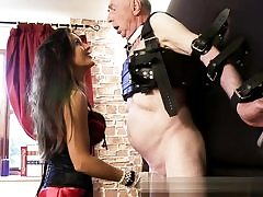Old nasty stud is getting his dick and his nasty testicles abused rough