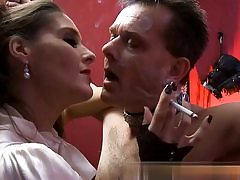 Mature bitch is predominant over this horny guy while smoking a cig