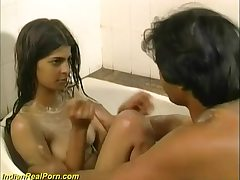 Fresh, Indian stunner had a relieving tub and then had casual hook-up with her boy