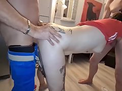 Mischievous dark-haired with many tats is getting down on all 4s on the floor and sucking guy jizz-shotgun like a real pro